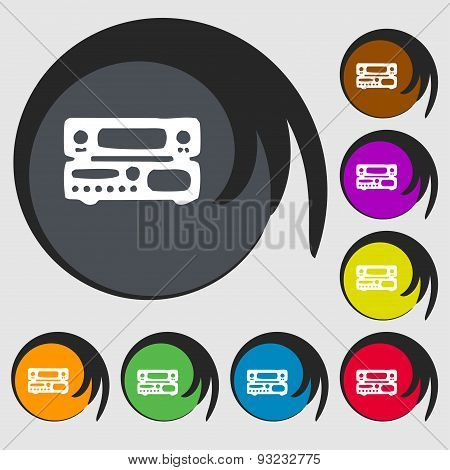 Radio, Receiver, Amplifier Icon Sign. Symbol On Eight Colored Buttons. Vector