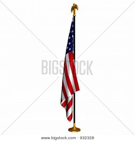 the american flag draped on a flag stand poster