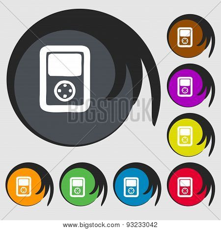 Tetris, Video Game Console Icon Sign. Symbol On Eight Colored Buttons. Vector