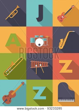 Jazz Music Poster Flat Design Vector Illustration. Jazz Music Poster with Flat Design Musical Instruments Icons