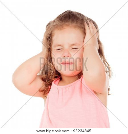 Little girl with headache isolated on a white background