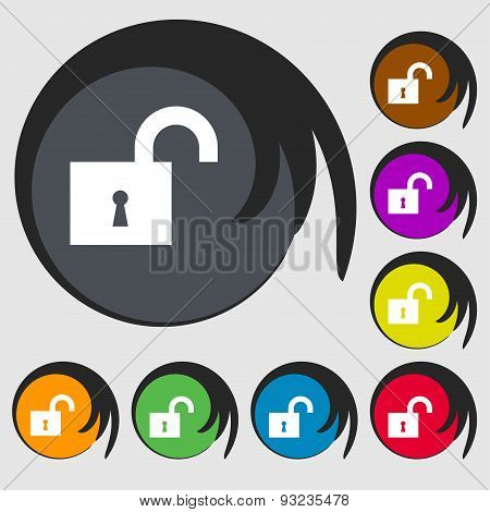 Open Lock Icon Sign. Symbol On Eight Colored Buttons. Vector