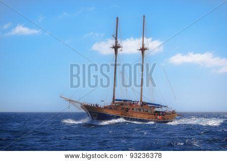 Sailboat Sailing In The Mediterranean Sea