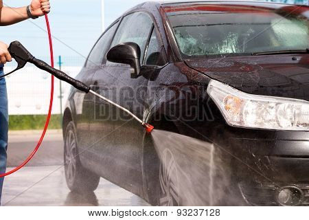 Washing the car at the carwash
