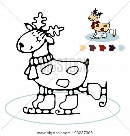 Cheerful Reindeer Skating Coloring For Kids