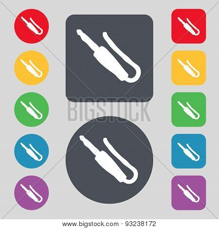 Plug, Mini Jack Icon Sign. A Set Of 12 Colored Buttons. Flat Design. Vector