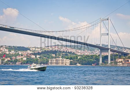 Bosphorus Bridge (also called the First Bosphorus Bridge) over the Bosphorus strait in Istanbul Turkey. Built in 1973 and connecting Europe and Asia poster