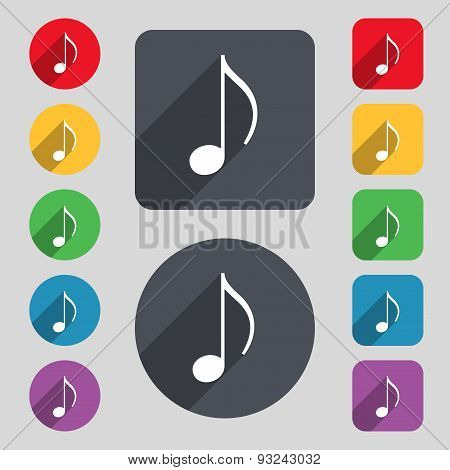 Musical Note, Music, Ringtone Icon Sign. A Set Of 12 Colored Buttons And A Long Shadow. Flat Design.