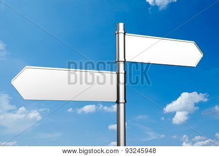 Empty street sign and blue sky with white clouds (3D Rendering)