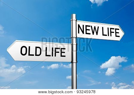 Decision between old life or new life on street sign (3D Rendering)
