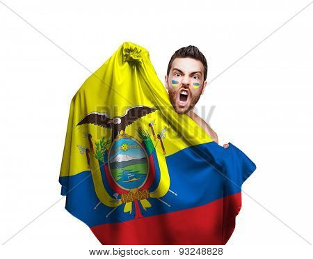 Fan holding the flag of Ecuador on white background