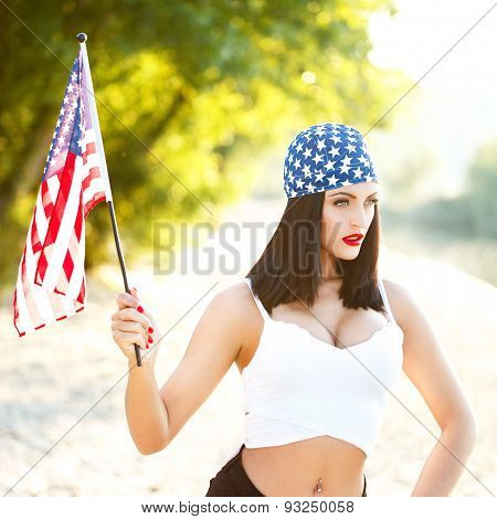 Sexy Brunette Woman Wih Usa Flag Outdoor