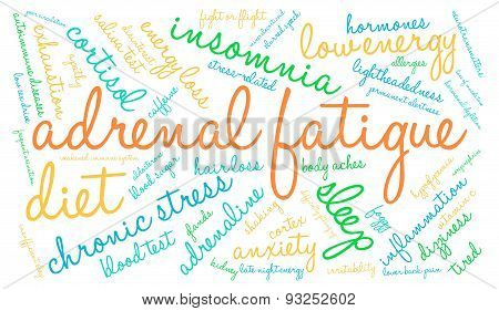 Adrenal fatigue word cloud on a white background. poster