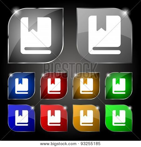 Bookmark Icon Sign. Set Of Ten Colorful Buttons With Glare. Vector