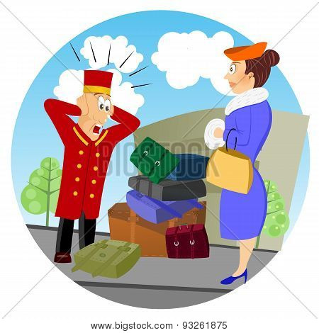 illustration of confused business bellhop standing in front of luggage of woman poster