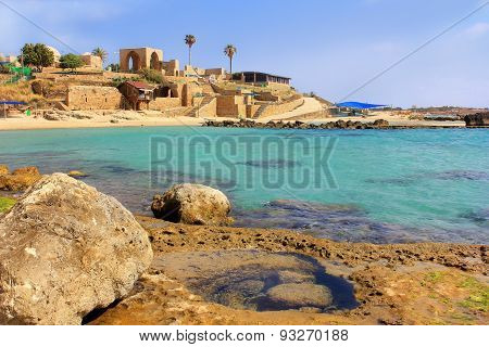 National Park Achziv, view of the ruins of the old Turkish fortress from the the lagoon in the Western Galilee, Israel poster
