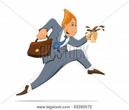 Businessman Running To Work In The Costume