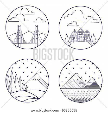 Flat liner mountain landscape and buldings.Retro,vintage vector design graphic element, badge, emble