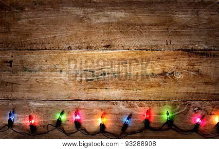 wood with colorful lights