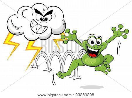 Cartoon Frog Escapes A Thunderstorm
