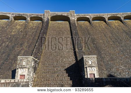 The Claerwen Reservoir. Towering Dam From Below.