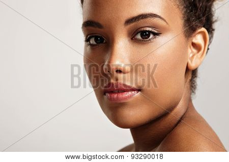 Pretty Black Woman's Portrait. Ideal Skin