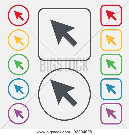 Arrow Cursor, Computer Mouse Icon Sign. Symbol On The Round And Square Buttons With Frame. Vector
