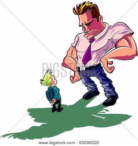 Cartoon man scolding a little boy