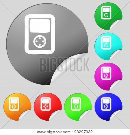 Tetris, Video Game Console Icon Sign. Set Of Eight Multi Colored Round Buttons, Stickers. Vector