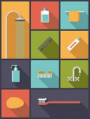 Personal Hygiene Flat Design Icons Vector Illustration. Vertical flat design illustration with various body care icons. poster