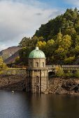 Foel Tower is the intake of the Garreg-ddu Reservoir water starts its 73 mile journey to Birmingham. Elan Valley Powys Wales United Kingdom Europe poster