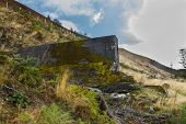 Part of the Nant-y-Gro Dam. Destroyed by explosives by Barnes Wallis. Led to RAF 617 Squadron using bouncing bombs in the Dam busters raids. Elan Valley Powys Wales United Kingdom Europe. poster