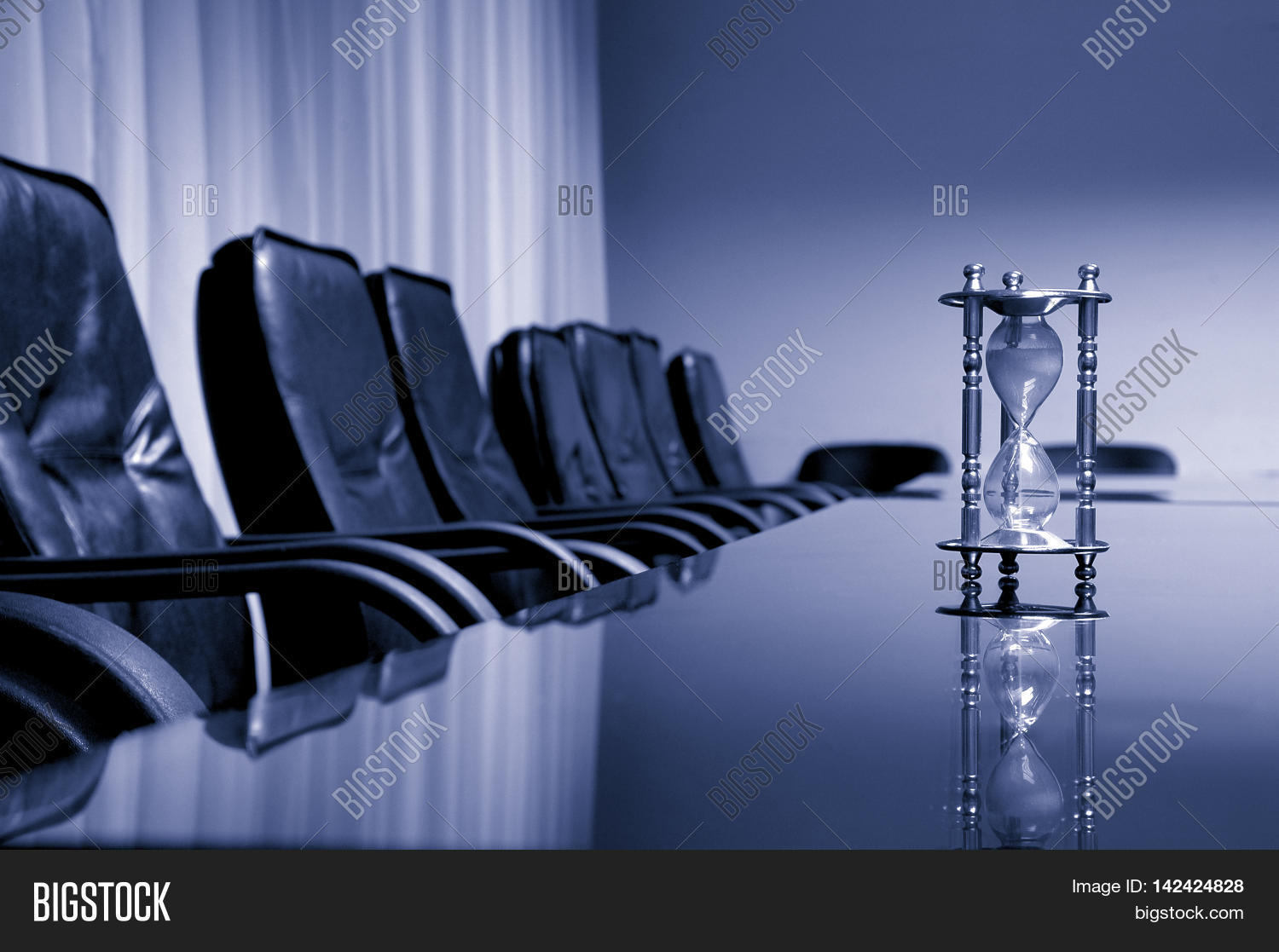 Empty conference room business image photo bigstock empty conference room business meeting concept blue toned sand clock in the empty conference room thecheapjerseys Images