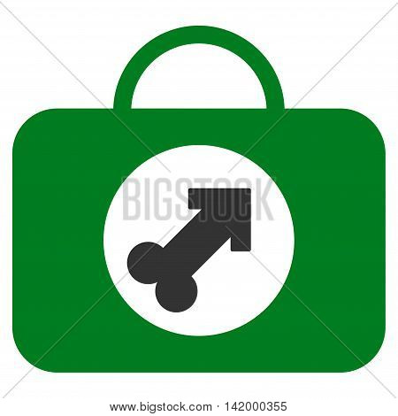Male Erection Case vector icon. Style is bicolor flat symbol, green and gray colors, rounded angles, white background. poster