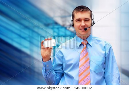 Happiness businessmens with card