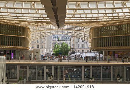 PARIS, FRANCE - AUGUST 5, 2016: entrance and canopy forum les halles in paris, France