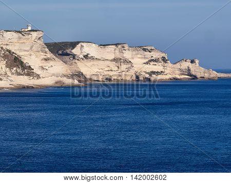 White cliffs near the old town of Bonifacio Corsica
