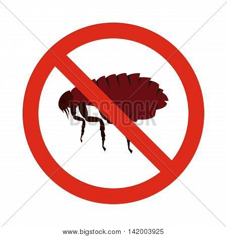 Prohibition sign fleas icon in flat style isolated on white background. Warning symbol