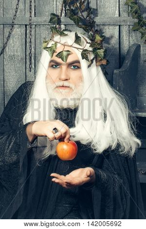 Zeus god or jupiter with enchanted apple in studio