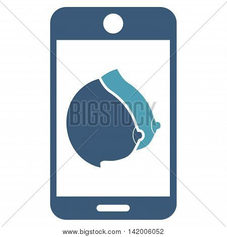Mobile Erotic Tits vector icon. Style is bicolor flat symbol, cyan and blue colors, rounded angles, white background. poster