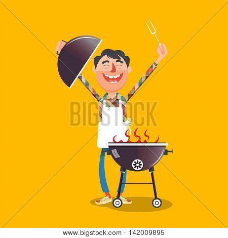 Happy man with barbecue flat style. Happy guy with smile. Cartoon colorful vector illustration