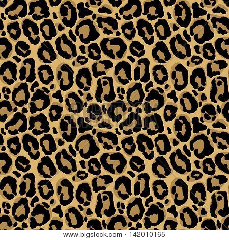 Vector seamless pattern with leopard fur texture. Repeating leopard fur background for textile design wrapping paper wallpaper or scrapbooking.