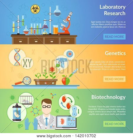 Biotechnology and genetics horizontal banners set with elements of biomaterials and laboratory equipment for realization of scientific experiments flat vector illustration poster