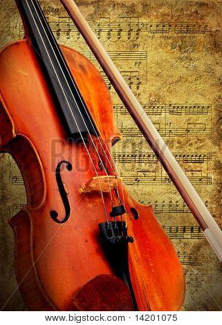 Fondo de violín retro musical grunge