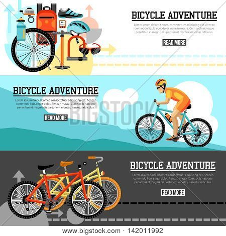 Biking adventure horizontal banners with bicycle set velocipede accessories and  traveling biker at mountain landscape compositions vector illustration