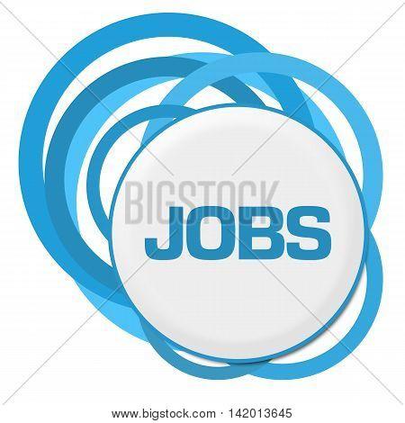 Jobs text written over blue circular background.