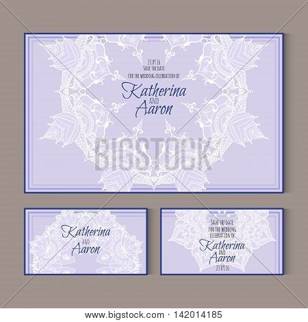 Set of invitation wedding cards with lotus flowers and place for text. Vector illustration.
