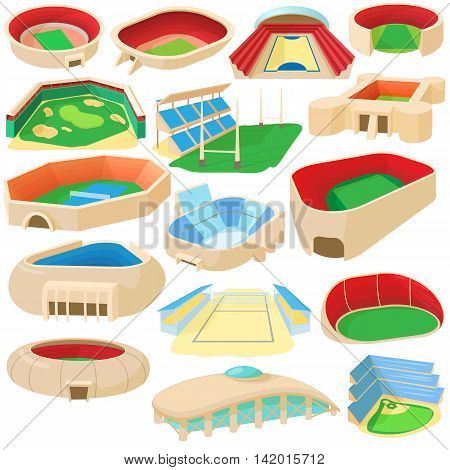 Cartoon sport stadium icons set. Universal sport stadium icons to use for web and mobile UI, set of basic sport stadium elements isolated vector illustration