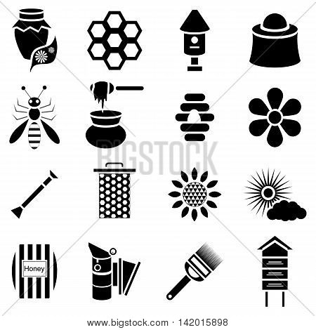 Simple apiary icons set. Universal apiary icons to use for web and mobile UI, set of basic apiary elements vector illustration