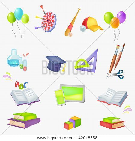 Set of vector colored icons School theme